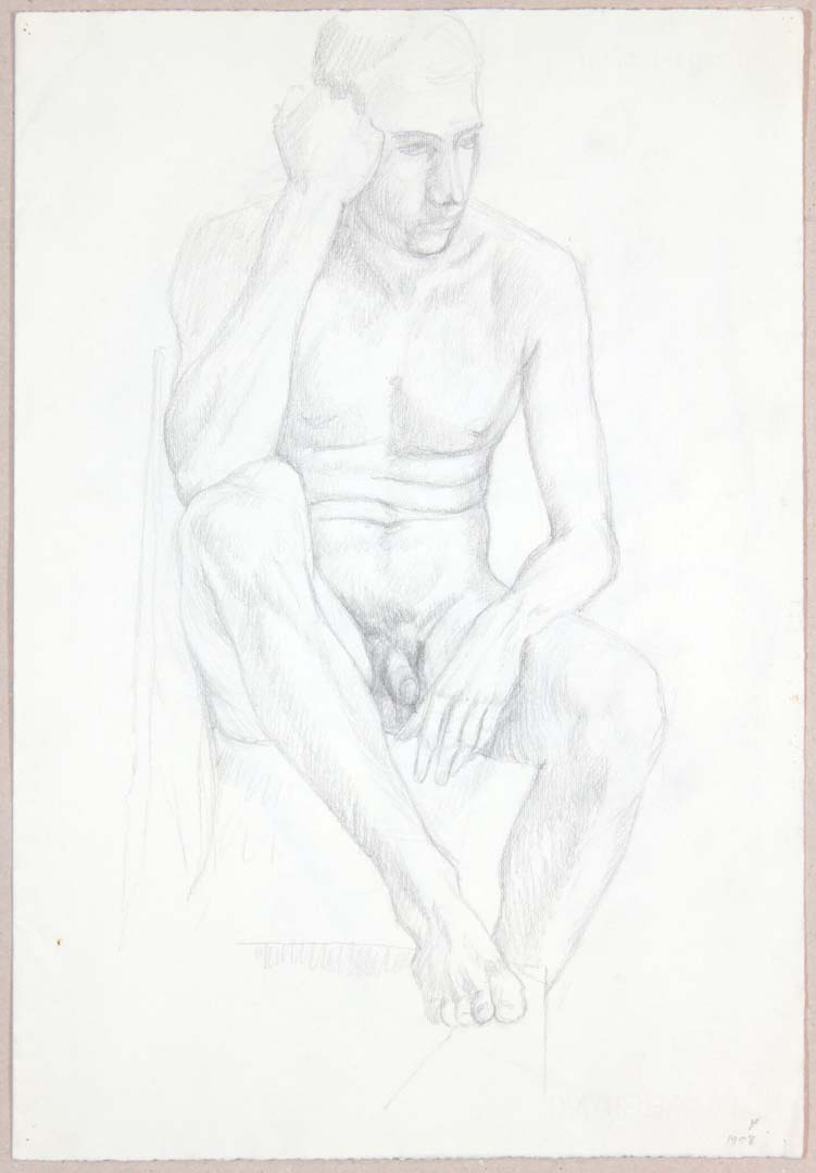 "1958 Male Nude Resting Head on Hand (Front Page) Graphite on Paper 18.875"" x 13"""