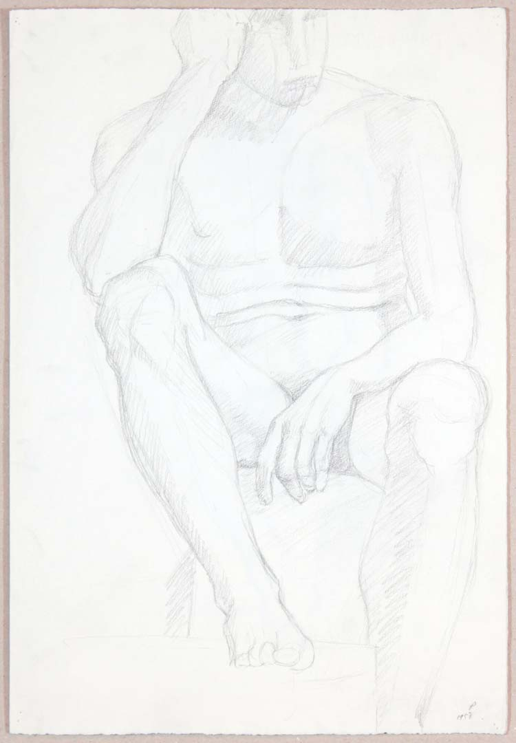 "1958 Male Nude Resting Head on Hand (Page Behind) Graphite on Paper 18.875"" x 13"""