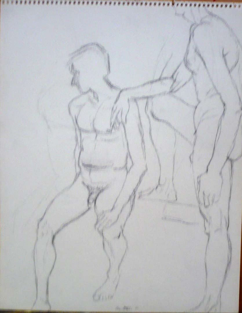 "1960 Hand of Male Model Drapes Over Shoulder of Another Pencil on Paper 14"" x 11"""