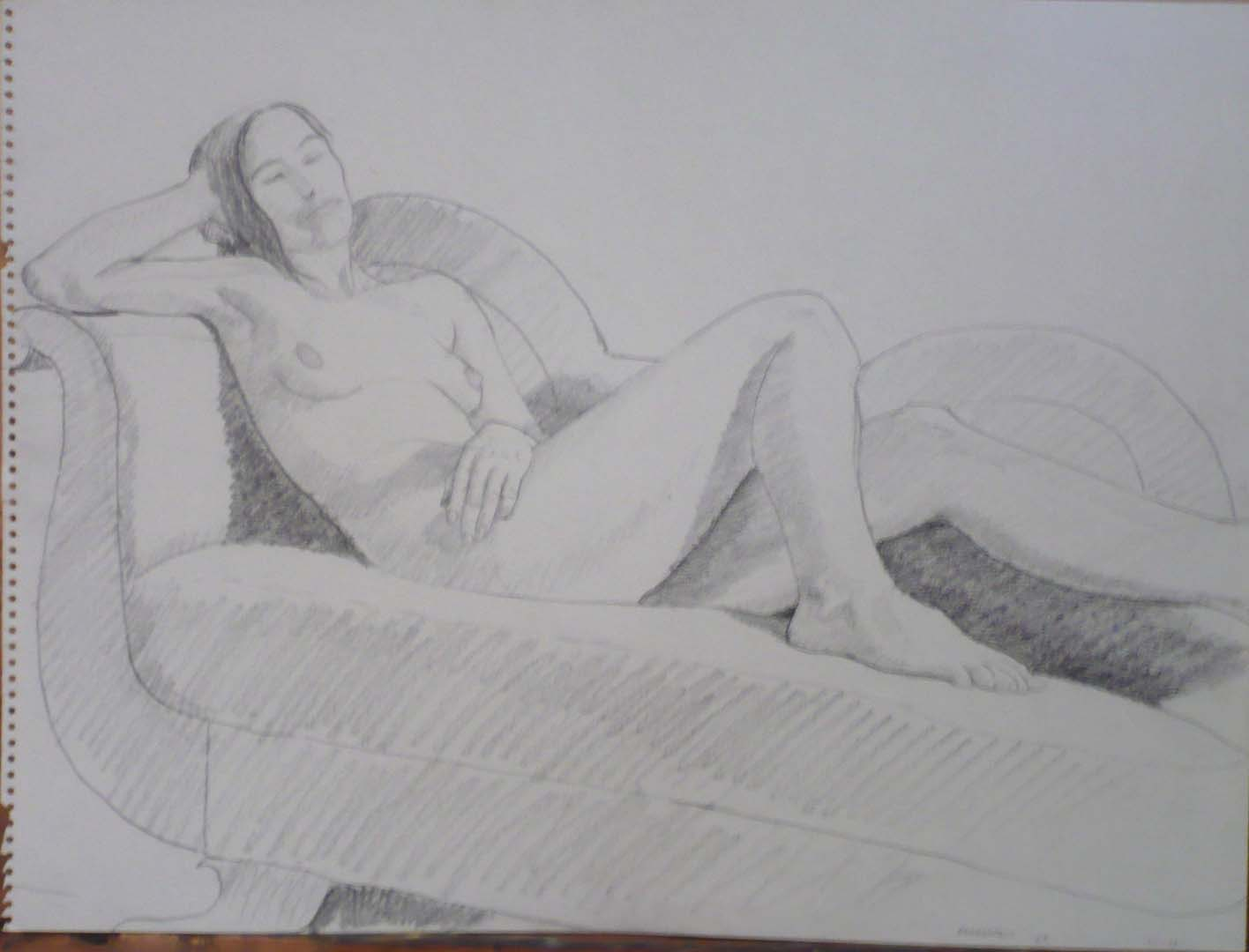 "1960 Reclined Model on Sofa Pencil on Paper 18"" x 24"""