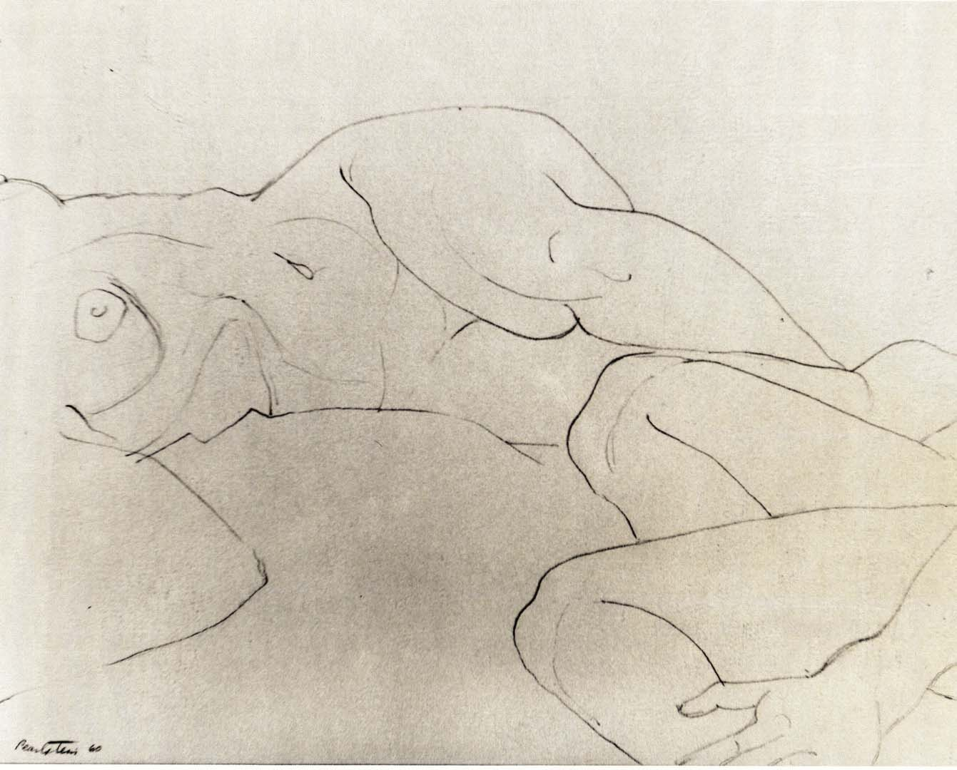 "1960 Reclining and Seated Models Pencil on Paper 10.75"" x 14 """