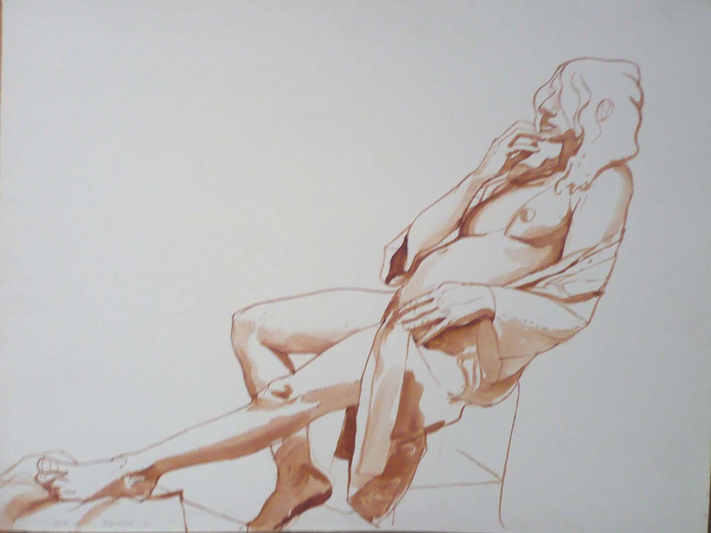 1969 Female Model reclining Backwards Sepia on Paper 20.75 x 27.375