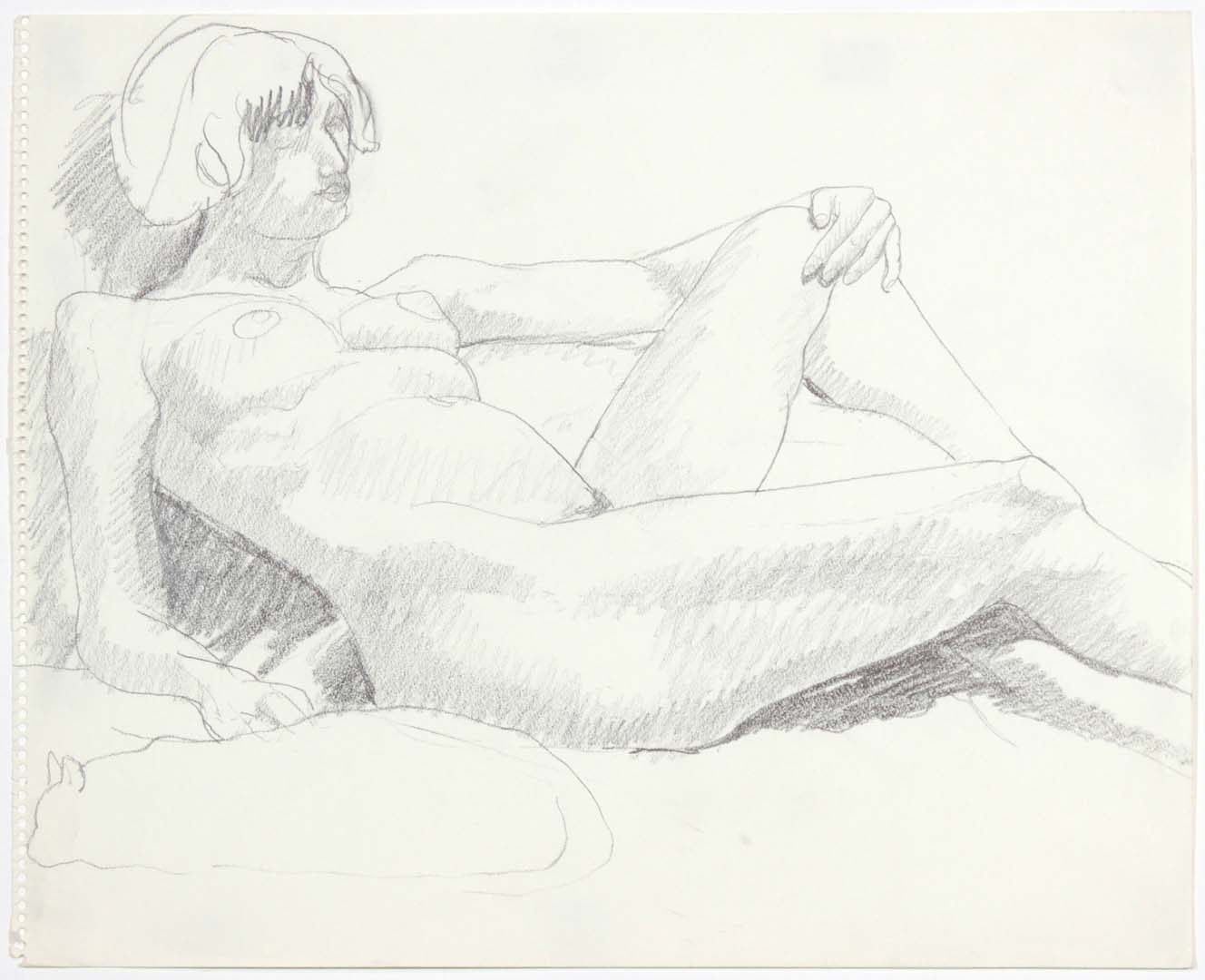 "1969 Leaning Female Nude with Cat Pencil on Paper 14"" x 17"""