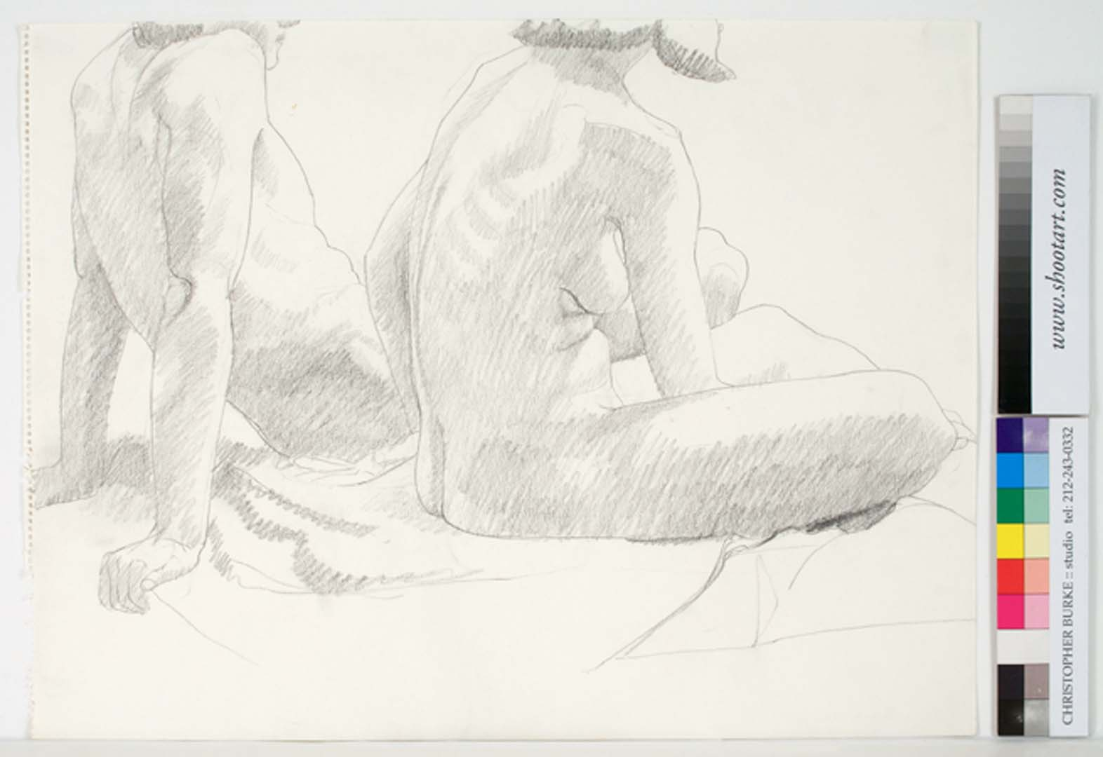 "1969 Seated Female Model and Leaning Male Model Pencil on Paper 18"" x 23.75"""