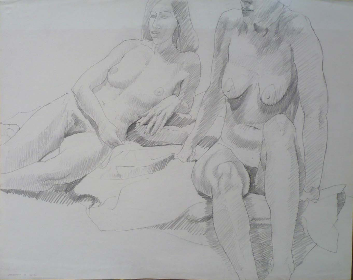 "1969 Two Female models on Drape Pencil on Paper 22.5"" x 28.5"""