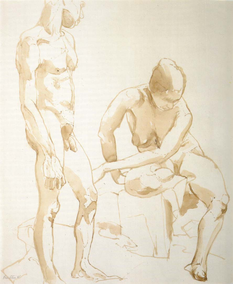 1961 Male and Female Models Sepia on Paper 16.75 x 14