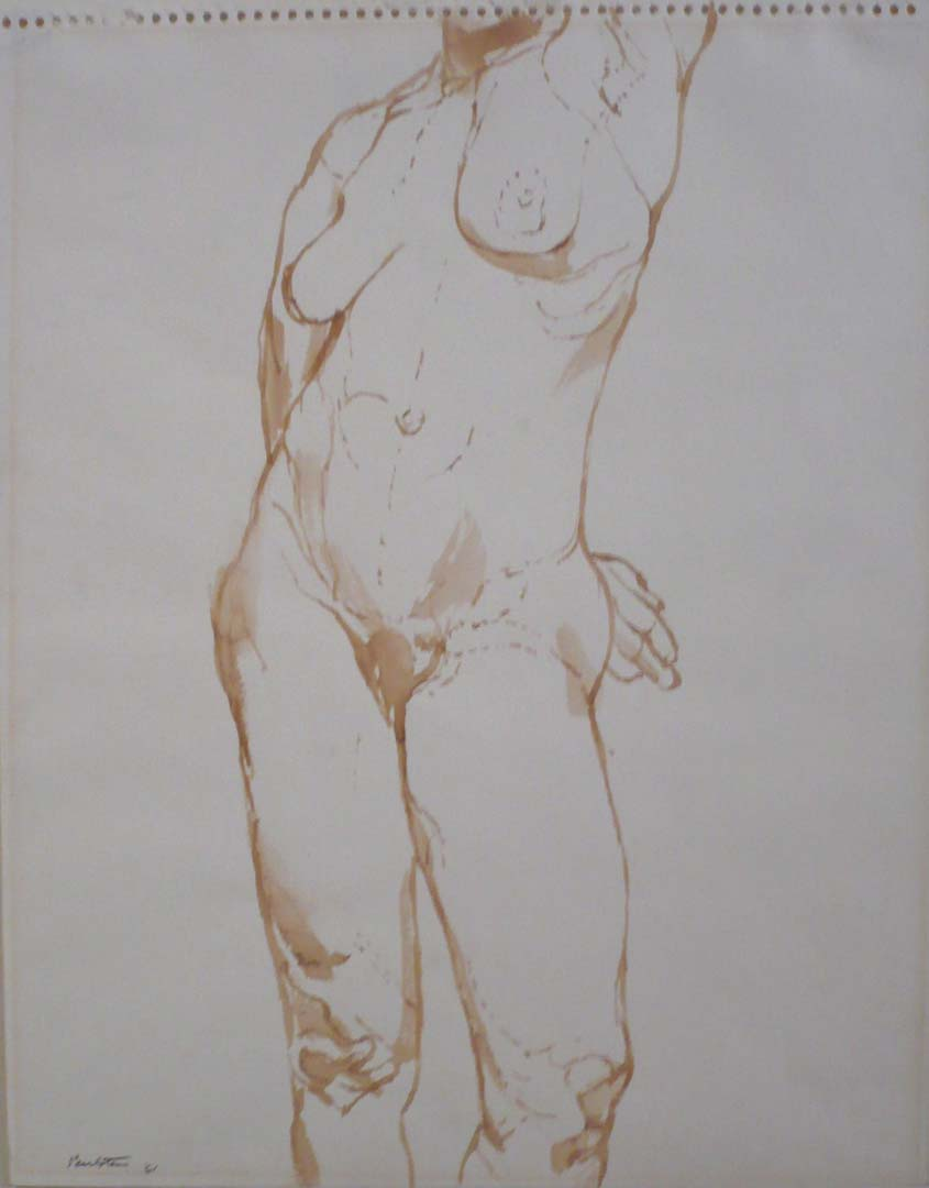 "1961 Nude Sepia on Paper 12.875"" x 10.875"""