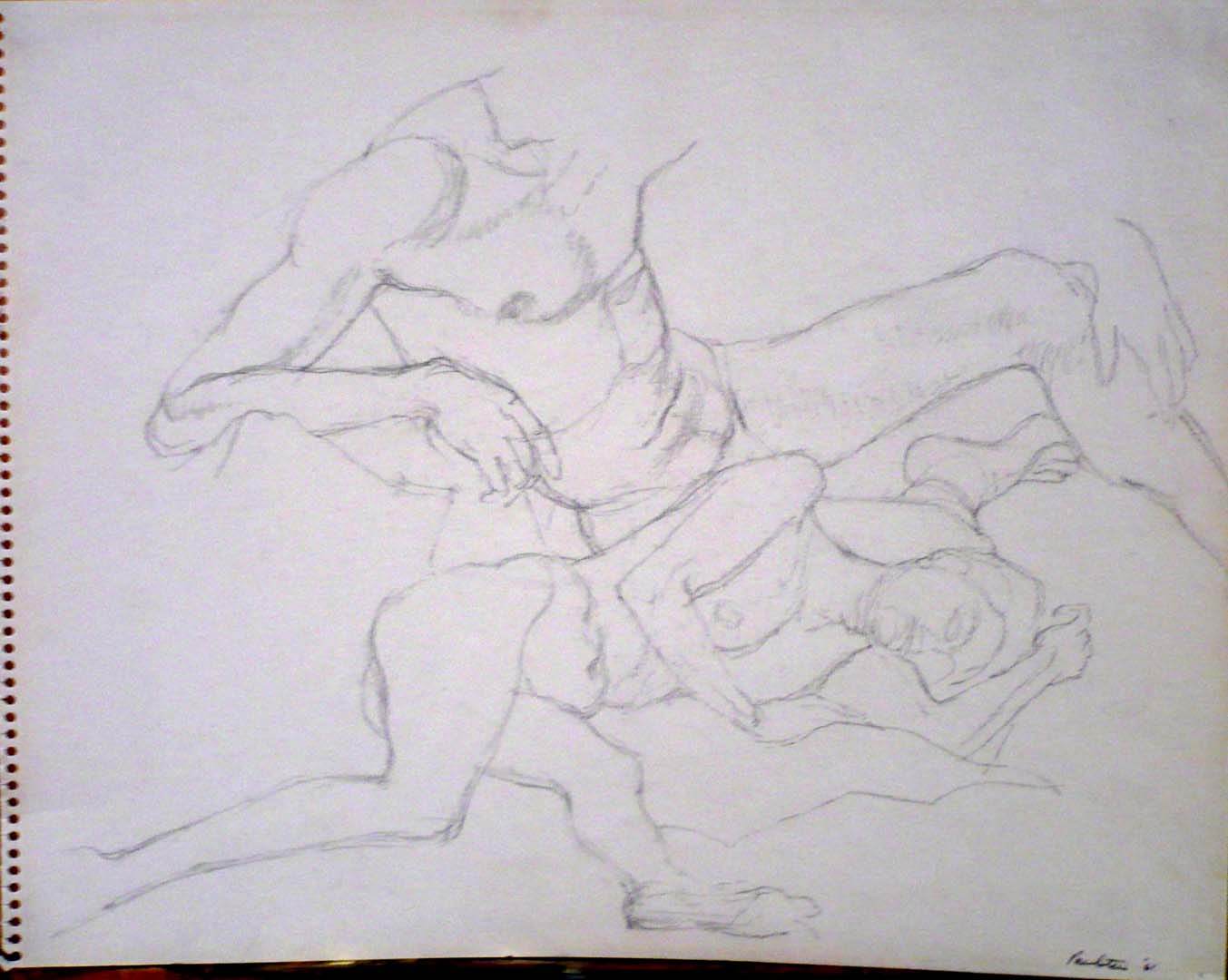 "1961 Reclined Female Nude and Seated Male Nude Pencil on Paper 11"" x 14"""