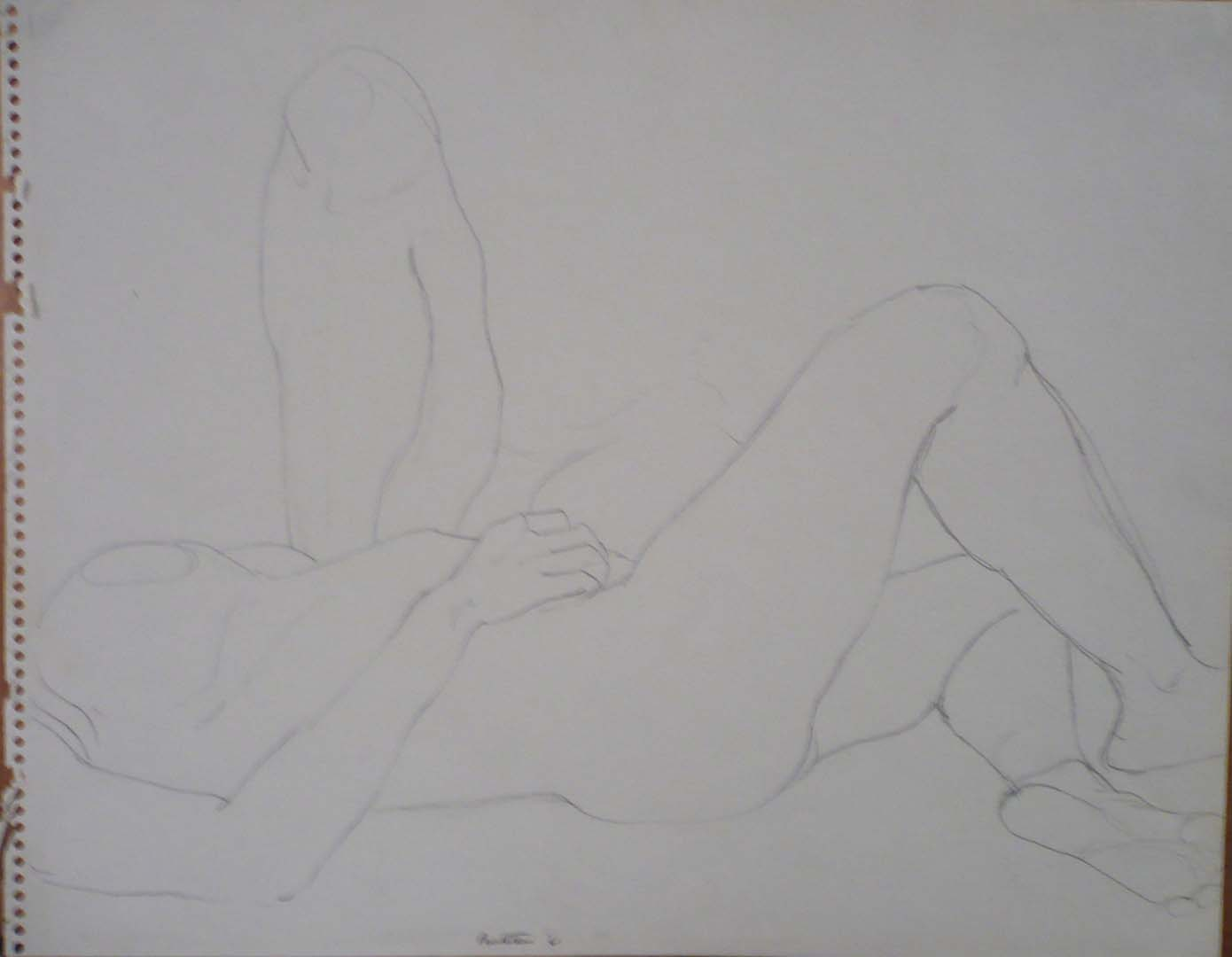 1961 Reclined Female and Leg Pencil on Paper 11 x 14