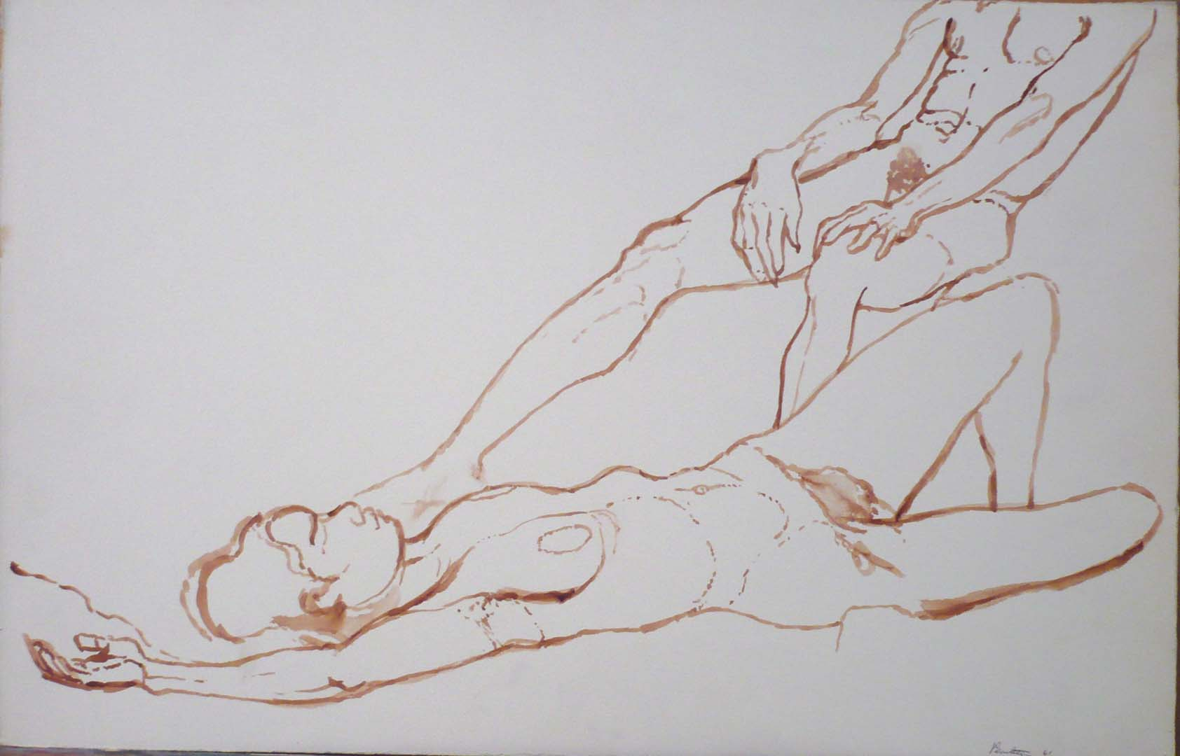 "1961 Reclining Female Nude and Seated Male Nude Sepia on Paper 13.5"" x 20.75"""