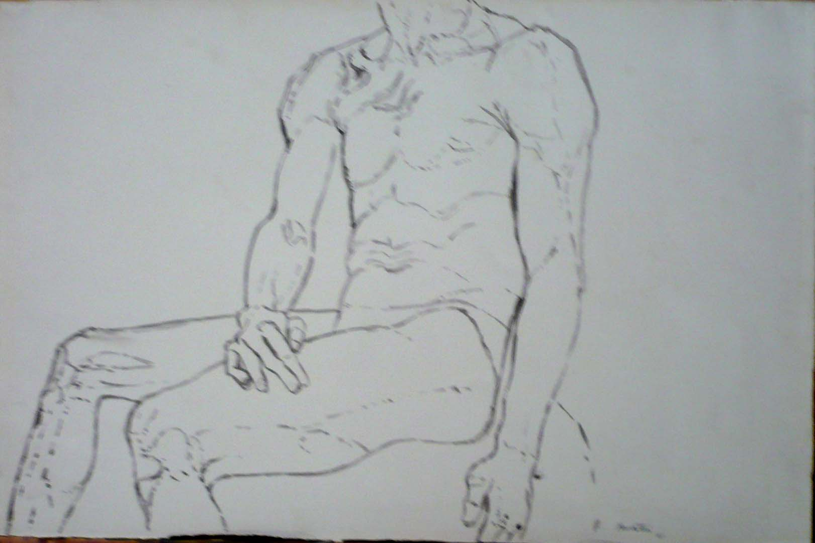 """1961 Seated Male Nude Wash on Paper 13.625"""" x 10.625"""""""
