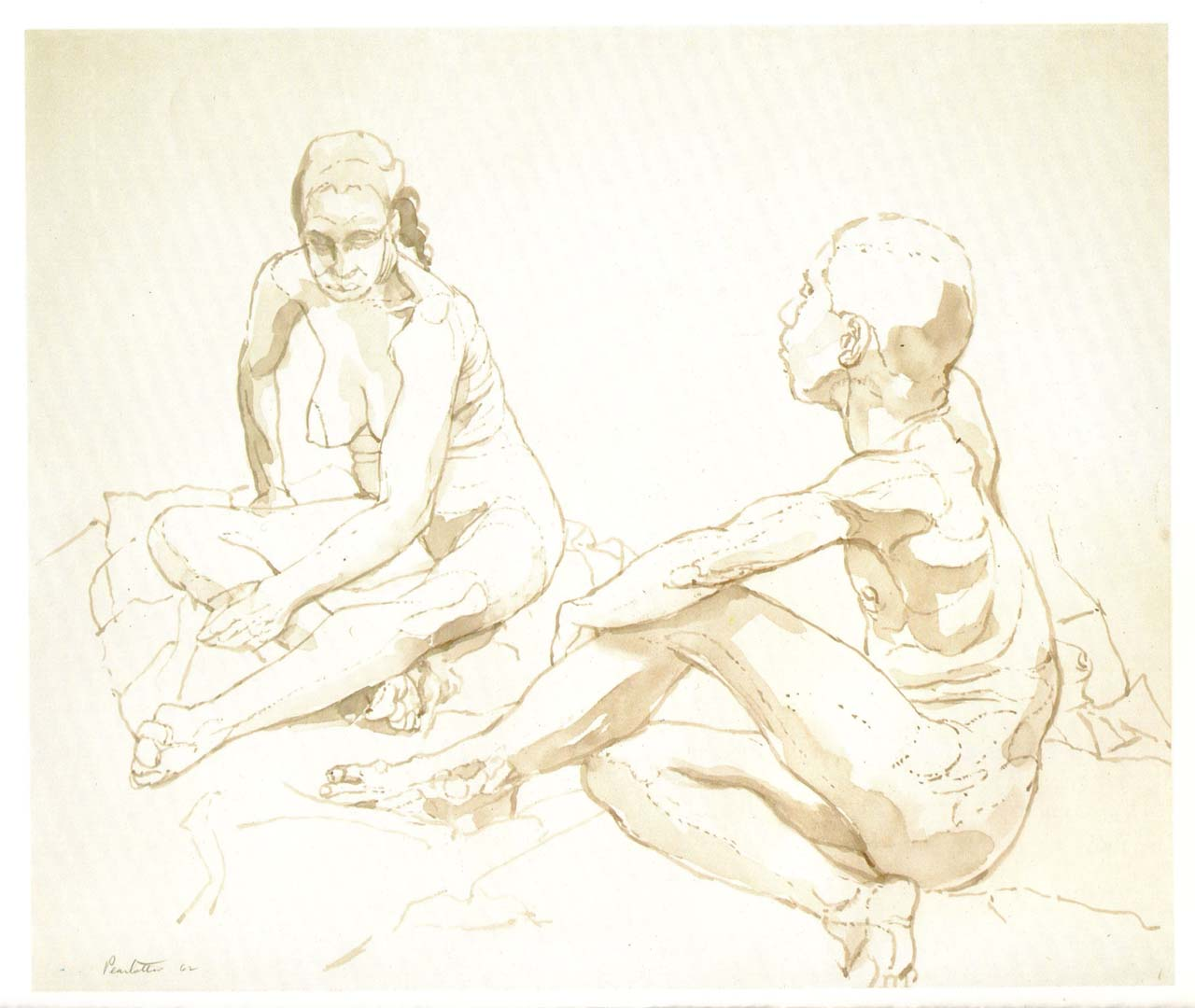 "1962 Male and Female Models Sitting on the Floor Sepia Wash on Paper 14"" x 16.75"""