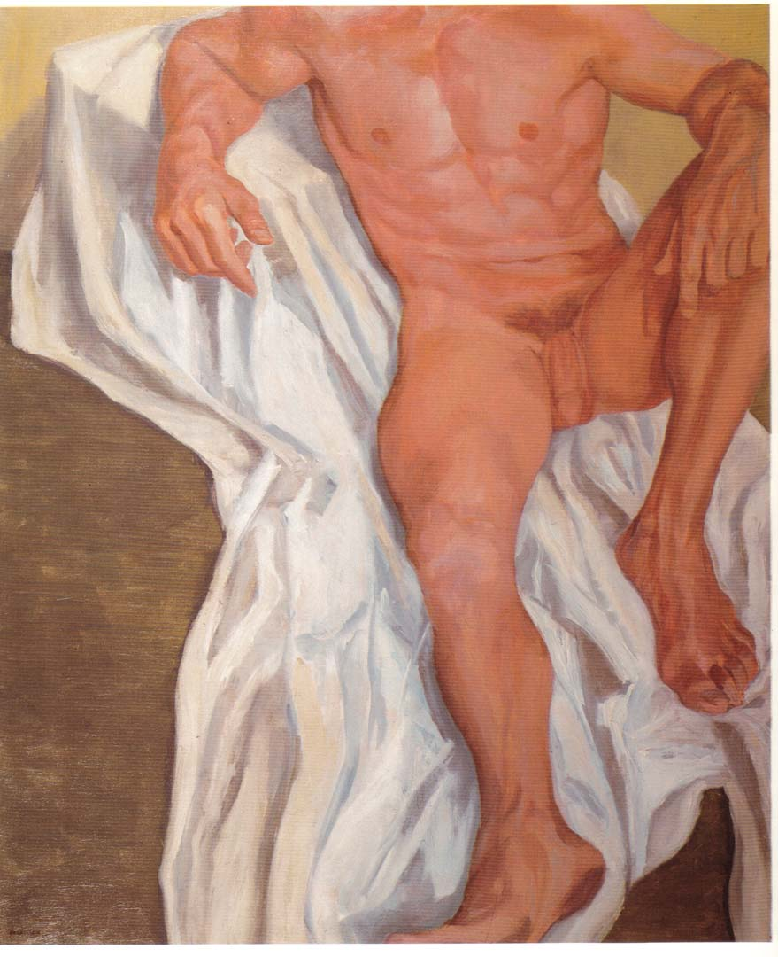 "1962 Seated Male Oil on Canvas 44"" x 36"""