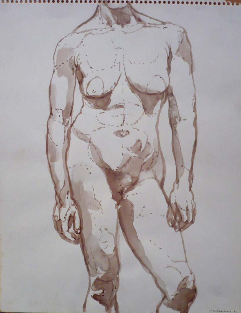 1962 Standing Female Model Sepia 14 x 11
