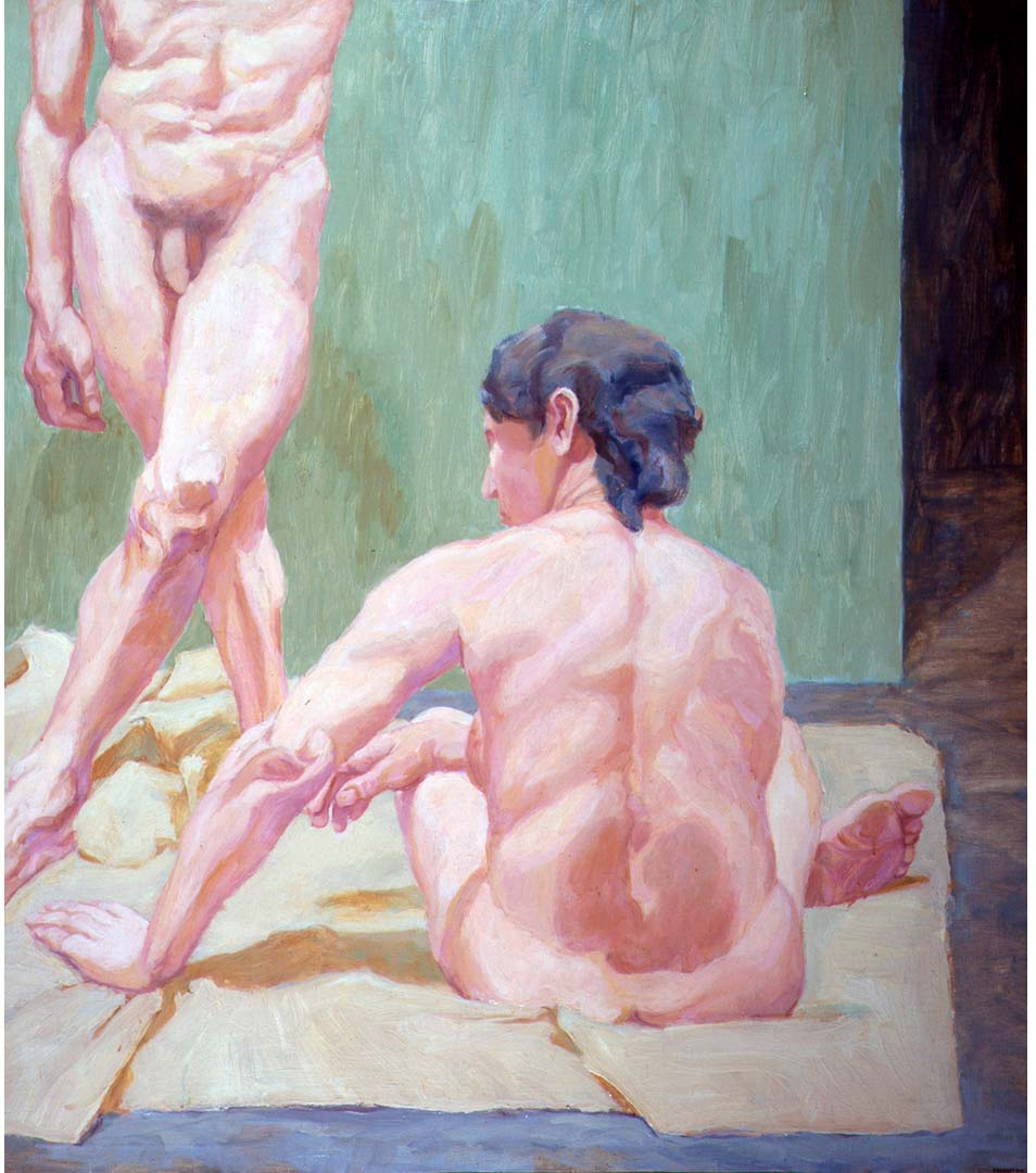 "1962 Two Figures One Standing Oil on Canvas 51"" x 45"""