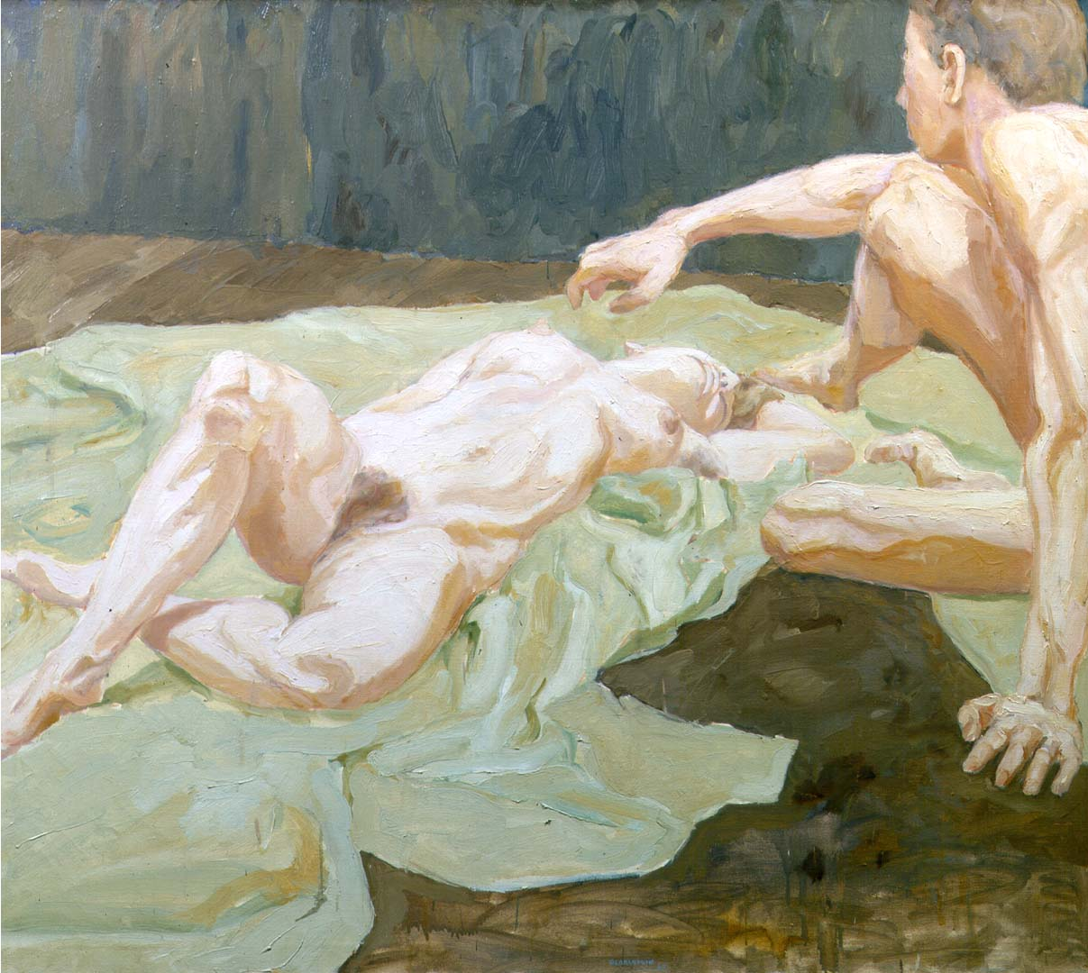 "1962 Two Models on Studio Floor Oil on Canvas 44"" x 50"""