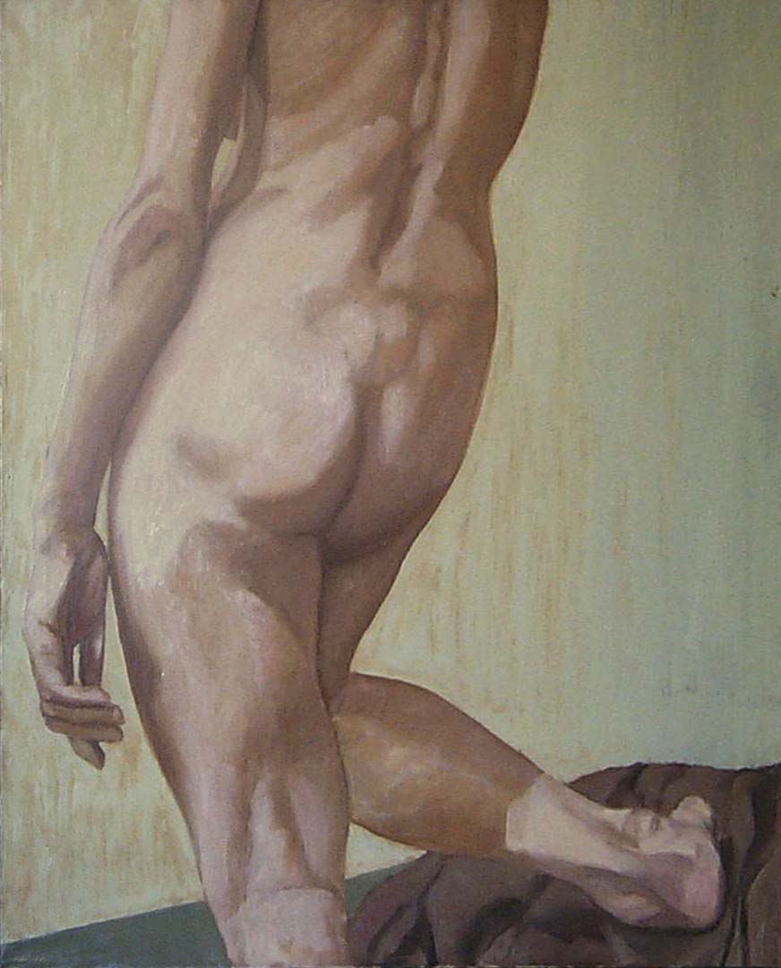 """1963 Back Female Nude Oil on Canvas 30"""" x 26"""""""