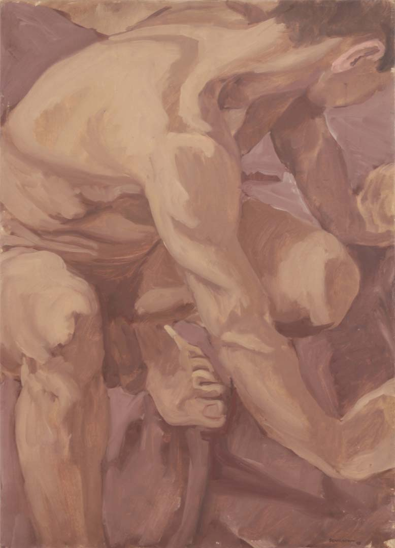 "1963 Crouching Male Nude Oil on Canvas 22"" x 16"""