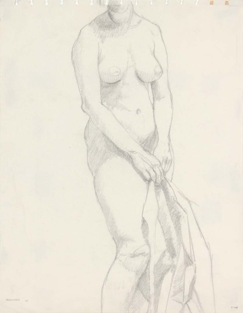 "1963 Female Model Holding Drape Pencil 13.75"" x 10.75"""