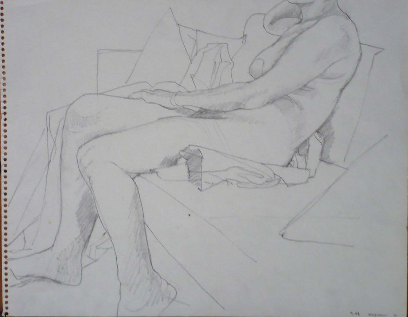 "1963 Female Model Seated on Sofa Pencil 11"" x 14"""
