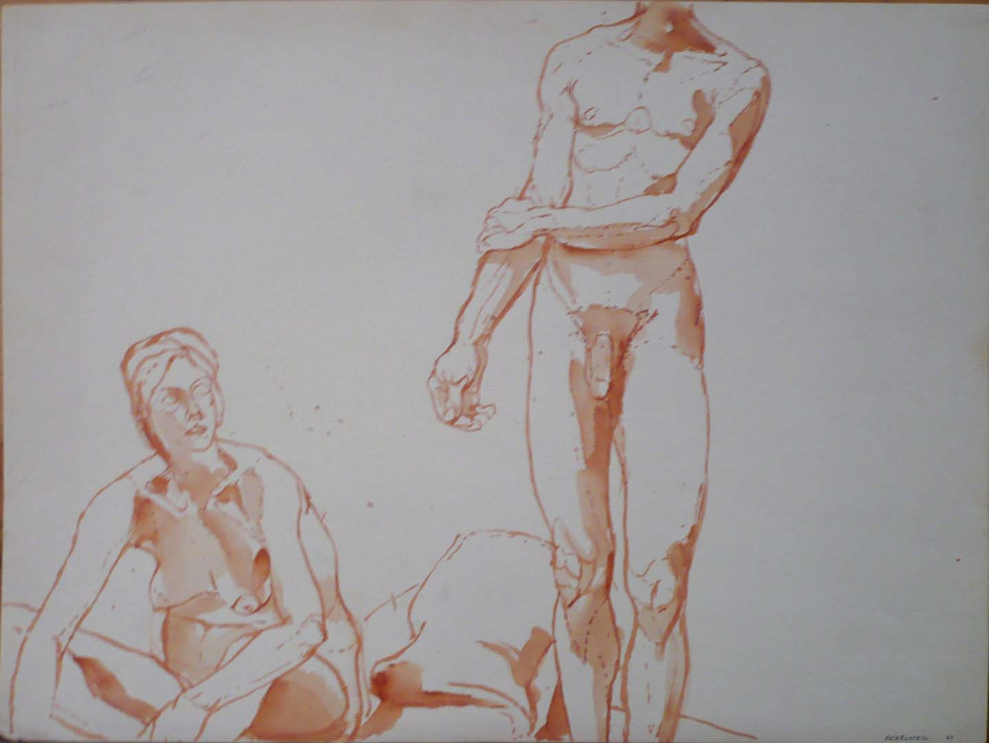 1963 Seated Female Nude and Standing Male Nude Pencil 14.875 x 20