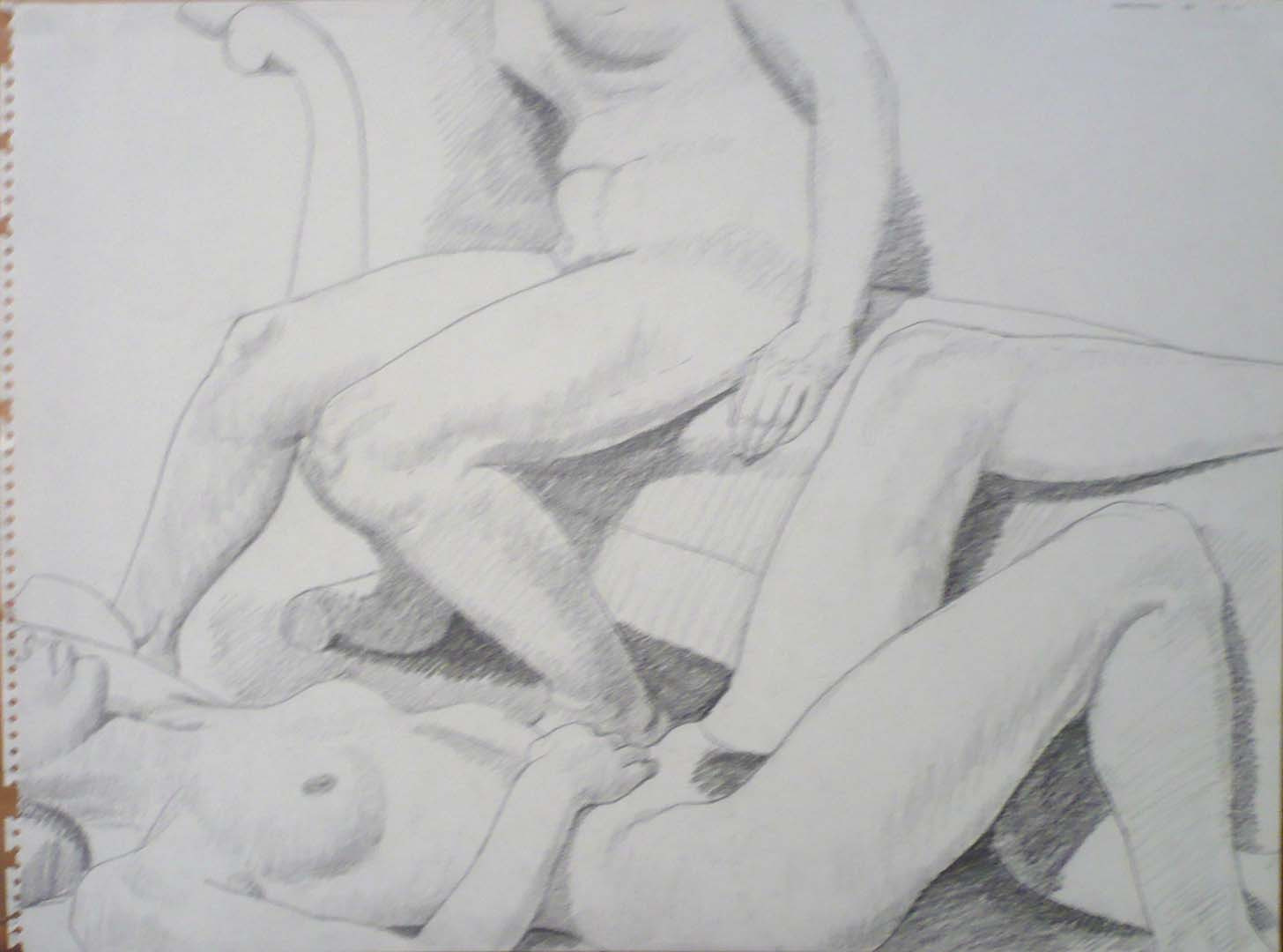 "1963 Two female Nudes with Victorian Sofa Pencil 18"" x 24"""