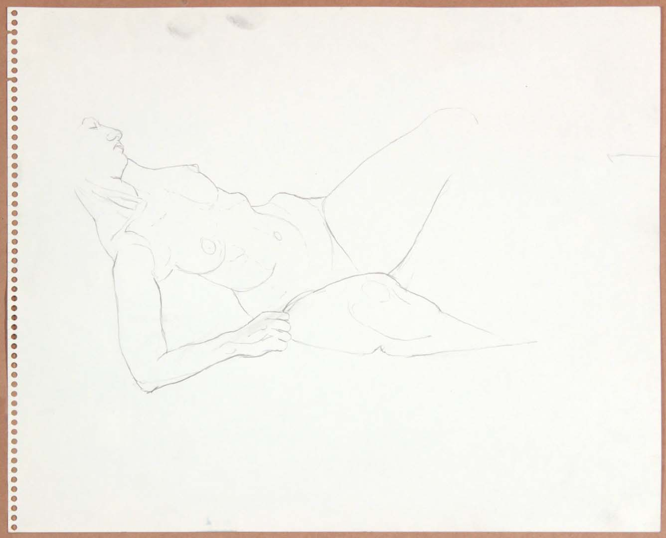 "1965 Reclining Female Model (Partial) Graphite 13.75"" x 17"""