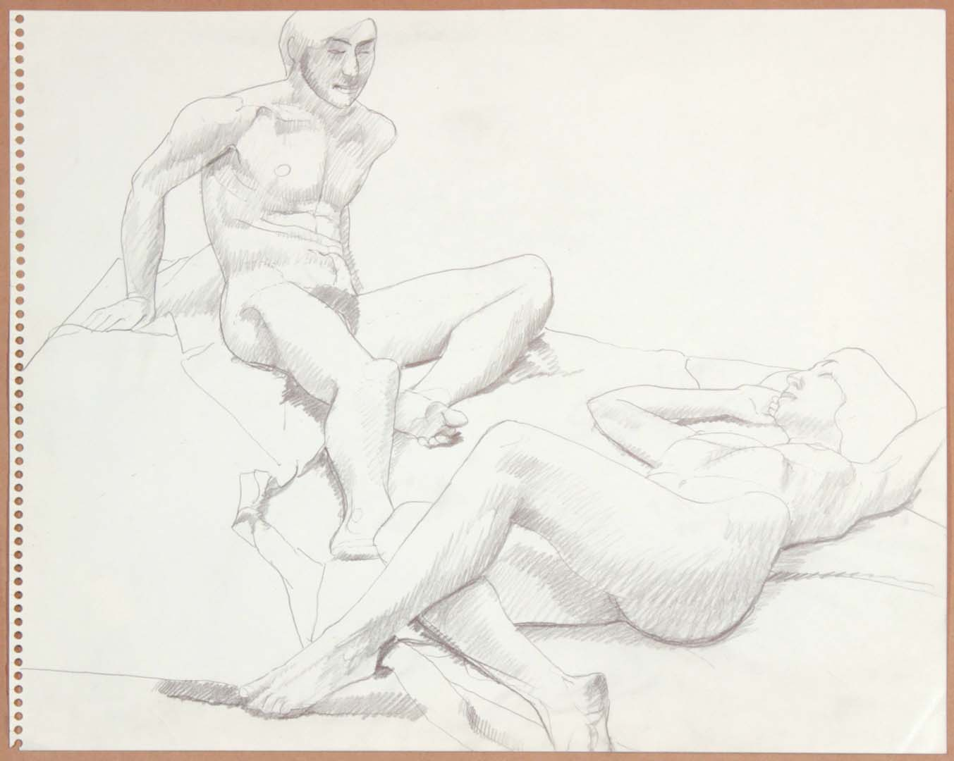 "1965 Reclining Male Model and Reclined Female Model Graphite 13.75"" x 17"""