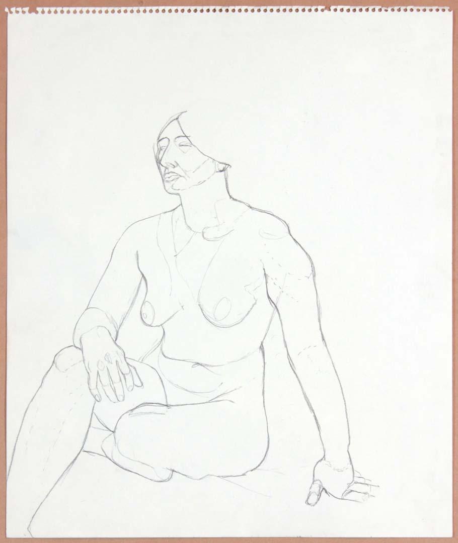 "1965 Seated Female Nude Graphite 17"" x 14"""