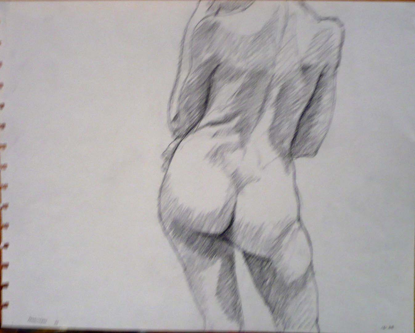 1964 Back of Standing Female Pencil 10.75 x 13.75