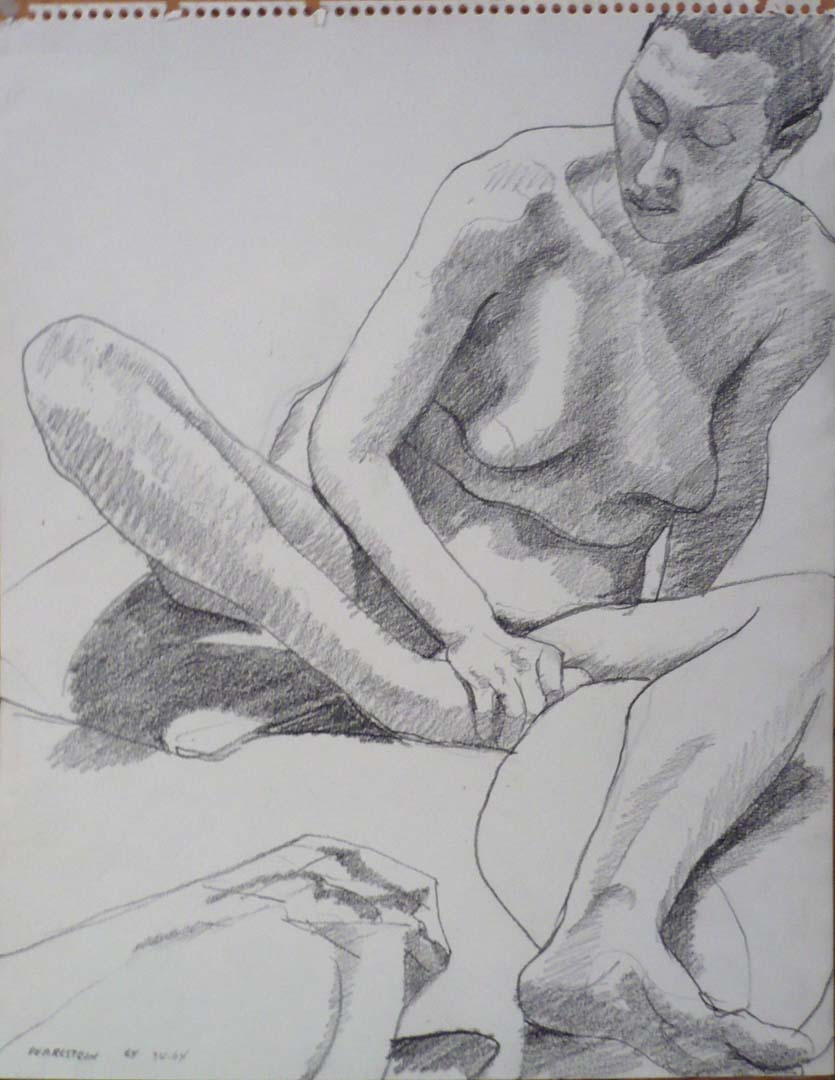 1964 Female Nude with Left Leg Outstretched Pencil 14 x 11