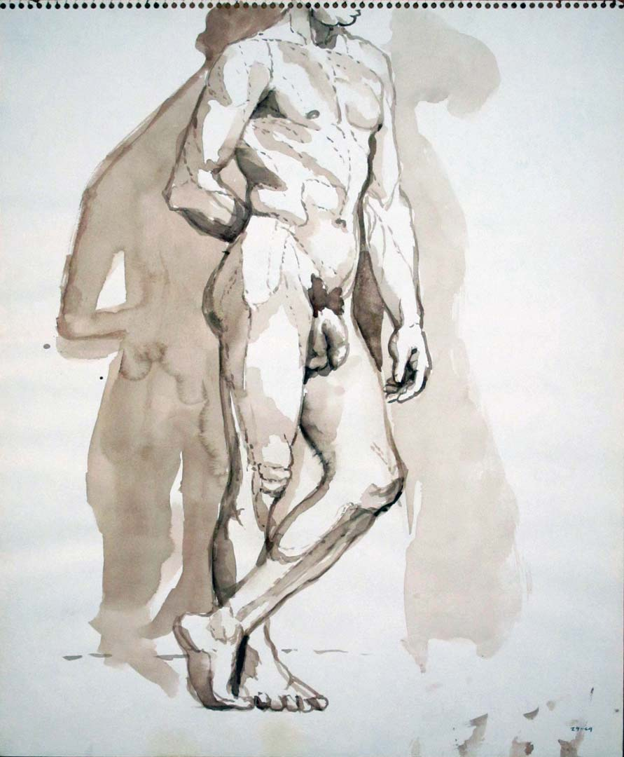 """1964 Male Model Leaning Against Wall Sepia 17"""" x 14"""""""