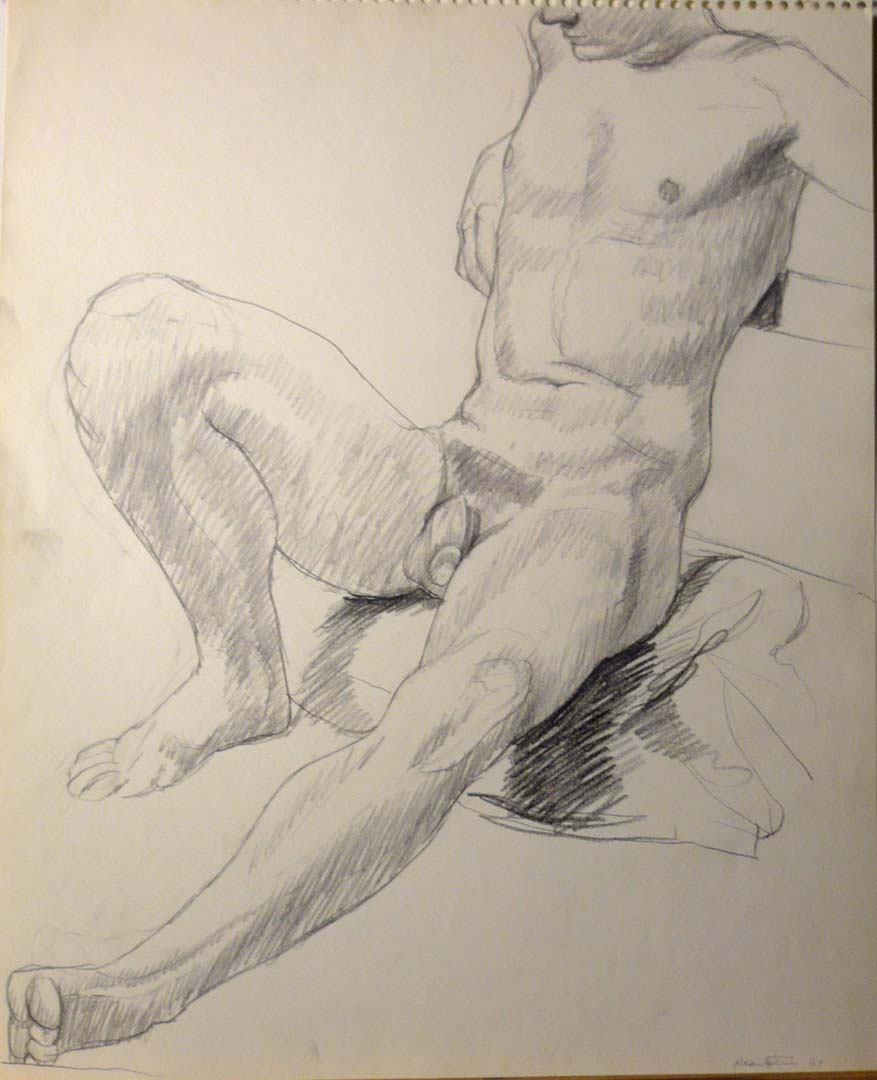 1964 Male Model Leaning Back Pencil 17 x 13.75