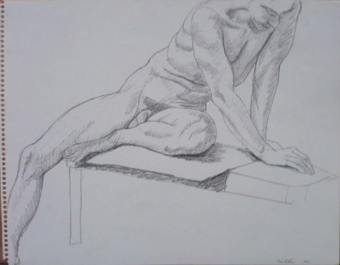 "1964 Male Model Seated on Platform Pencil 11"" x 14"""