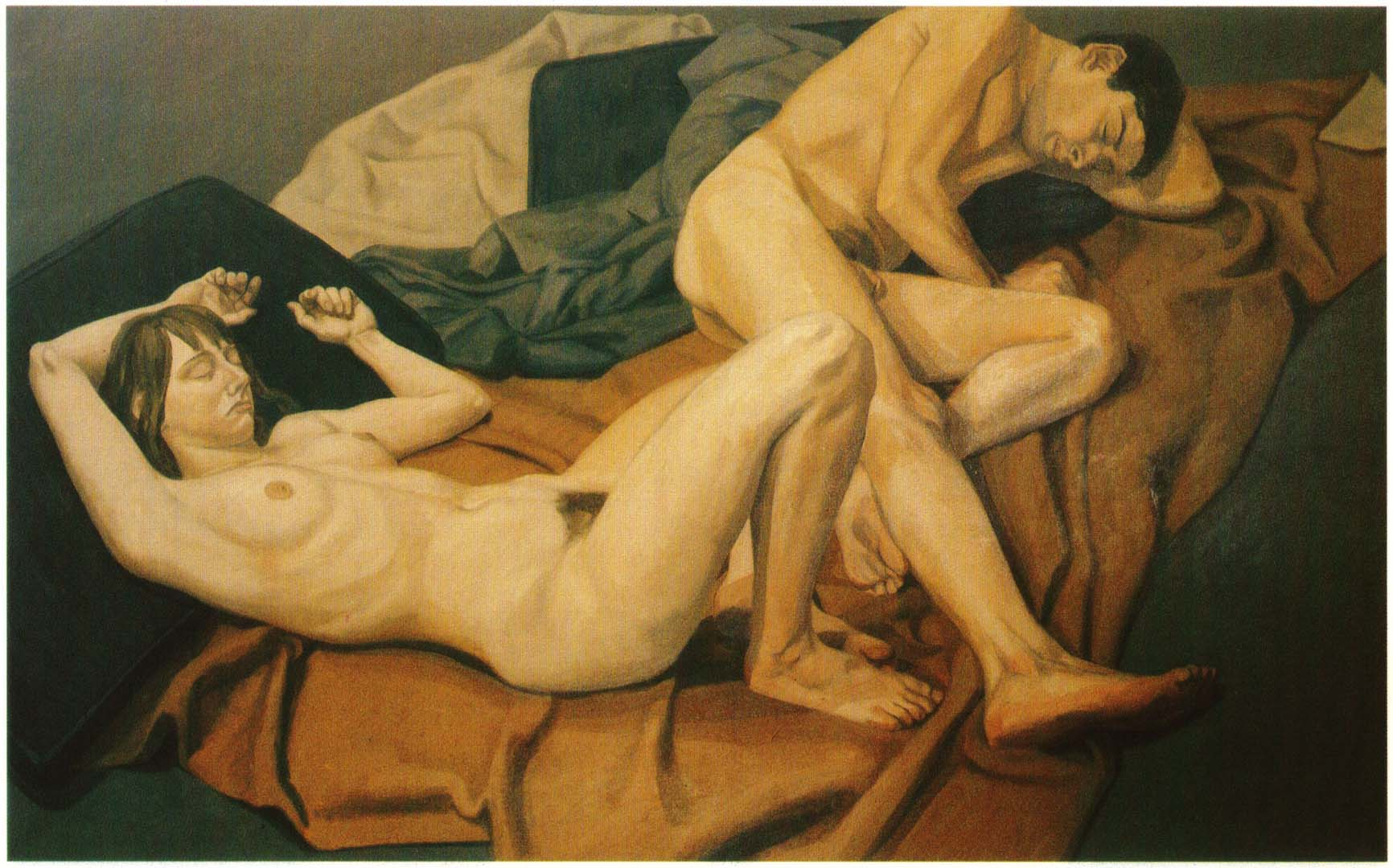 "1964 Male and Female Model Reclining Oil on Canvas 60"" x 96"""