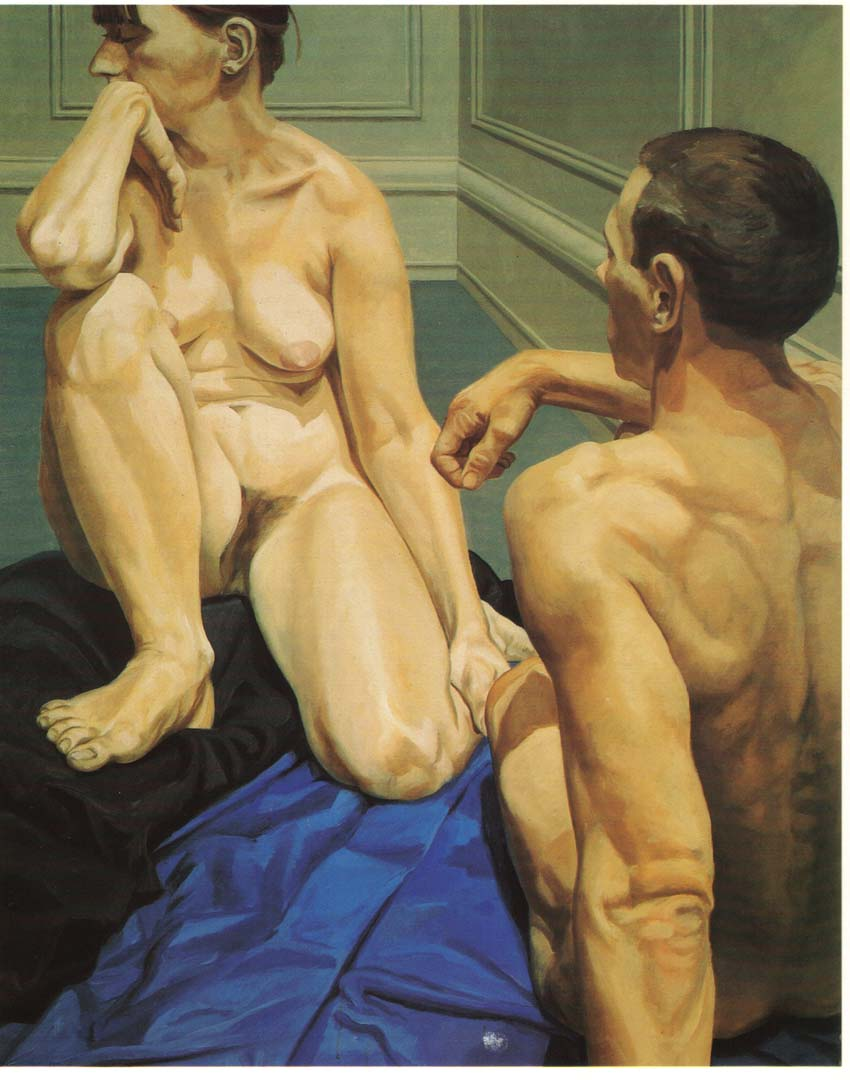 "1964 Male and Female Models Sitting on the Floor Oil on Canvas 60.5"" x 48"""