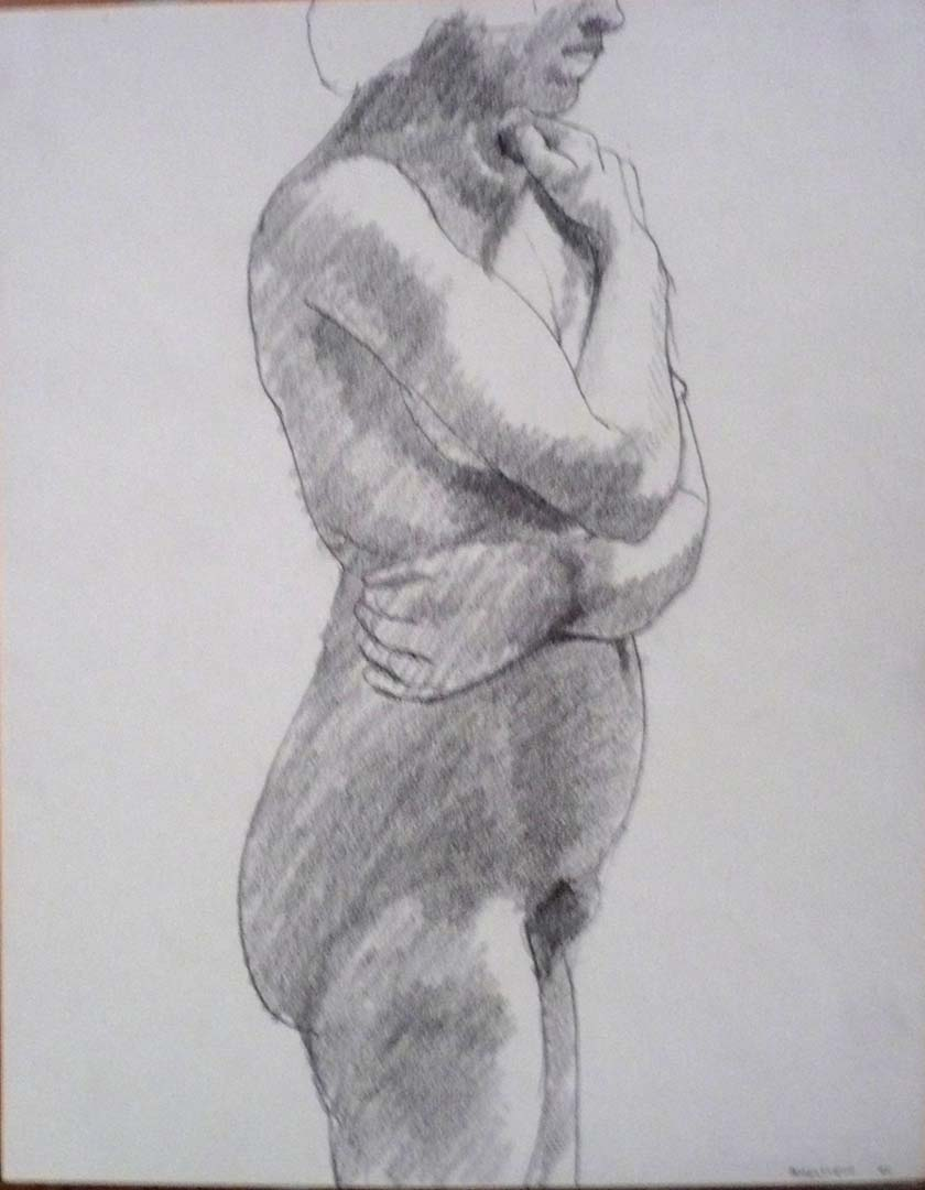 "1964 Model with Arms Wrapped Around Body Pencil 13.75"" x 11"""