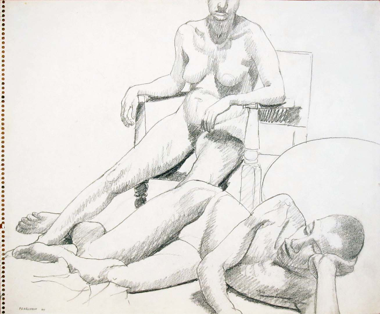 "1964 Reclined Male Model and Seated Female Model in Wooden Chair Pencil 14"" x 17"""
