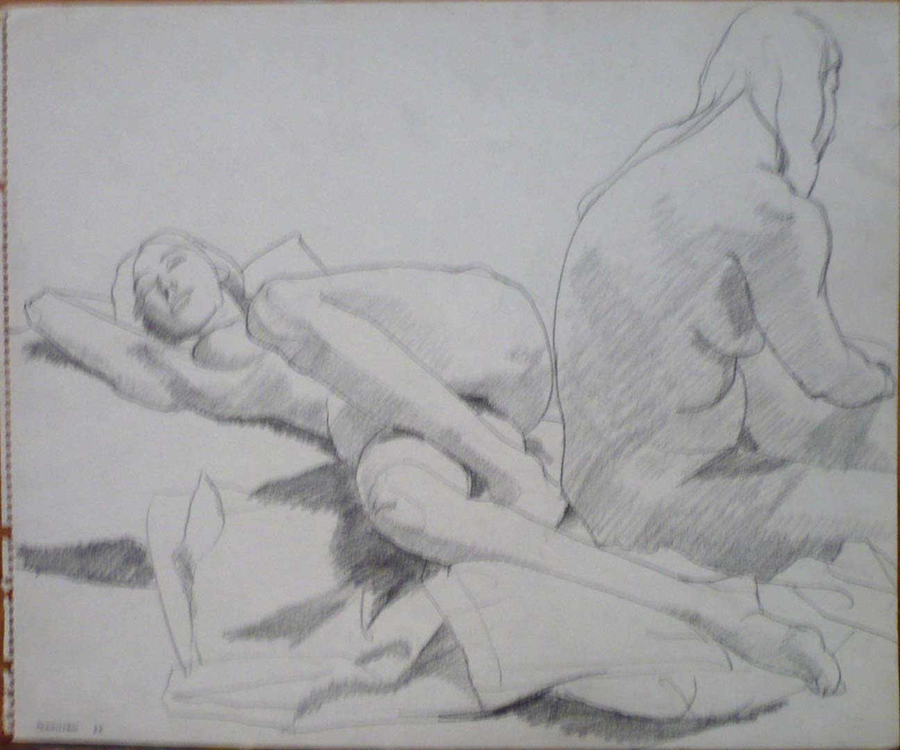 "1964 Two Female Models on Drape Pencil 13.875"" x 16.875"""