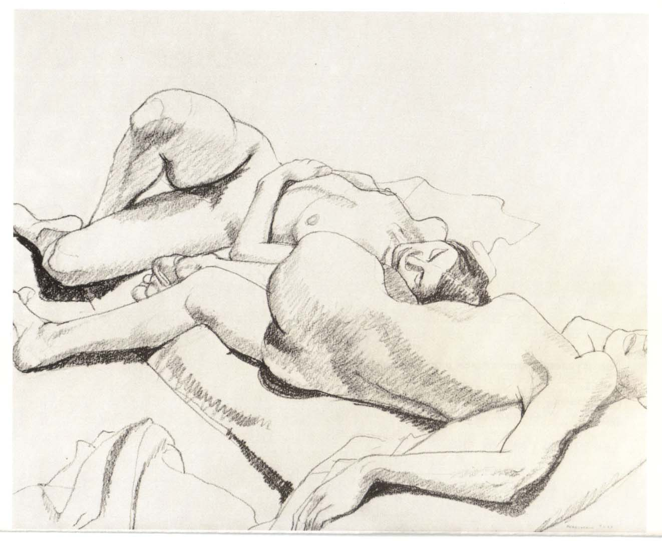 "1964 Two Models Lying on the Floor Pencil on Paper 14"" x 17"""
