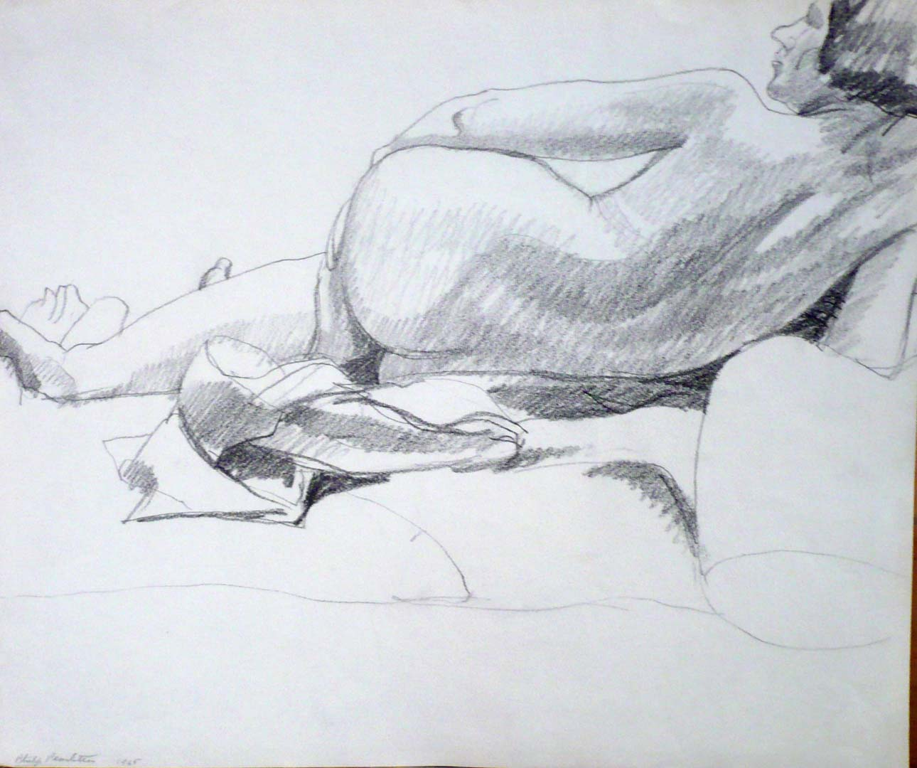 "1965 Back of reclined Female Pencil 14"" x 16.75"""