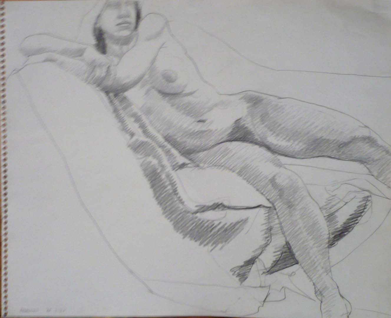 "1965 Leaning Female Nude Pencil 10.75"" x 13.75"""