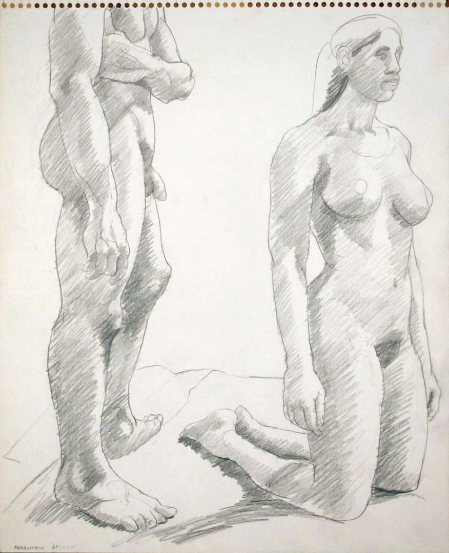 "1965 Standing Male and Kneeling Female Pencil 13.75"" x 17"""
