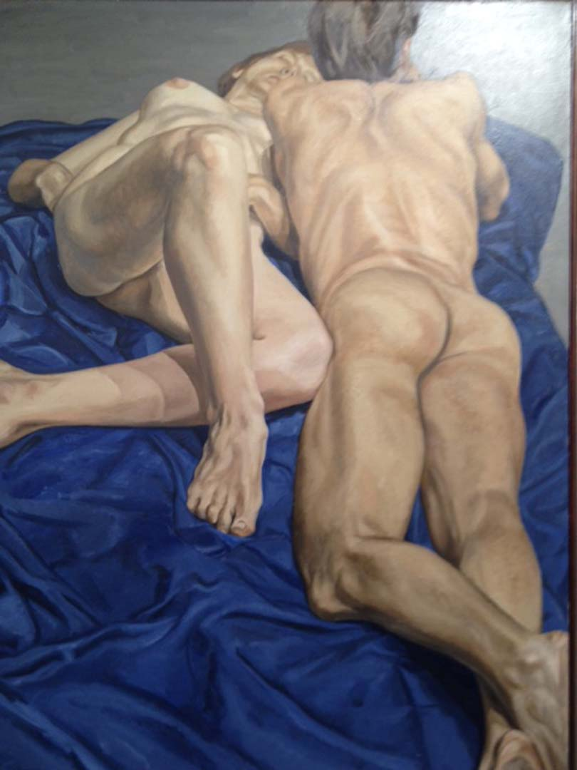 1965 Two Models with Blue Drape Oil on Canvas 72 x 54