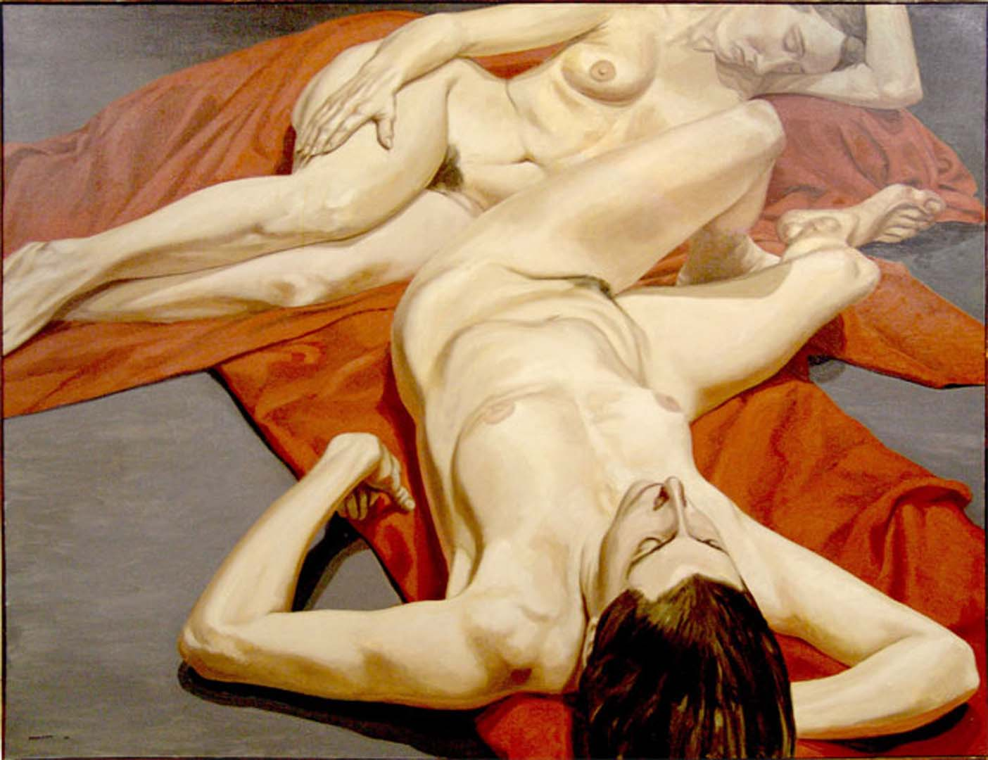 "1965 Two Nudes with Red Drape Oil on Canvas 54"" x 70"""