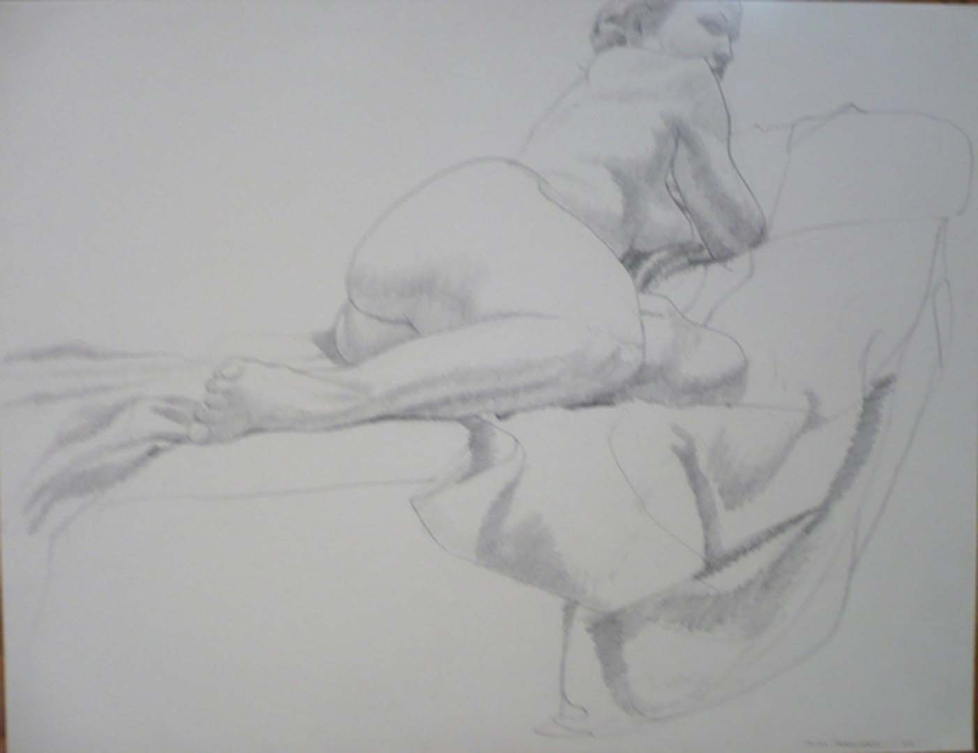 "1966 Female Model Reclining on Drape Pencil 20"" x 26"""