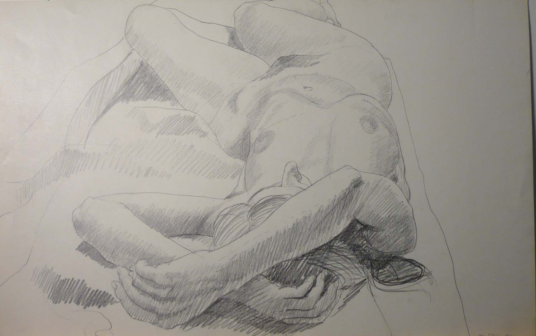 "1966 Model Lying on Floor with Arms Overhead Pencil 14"" x 22"""