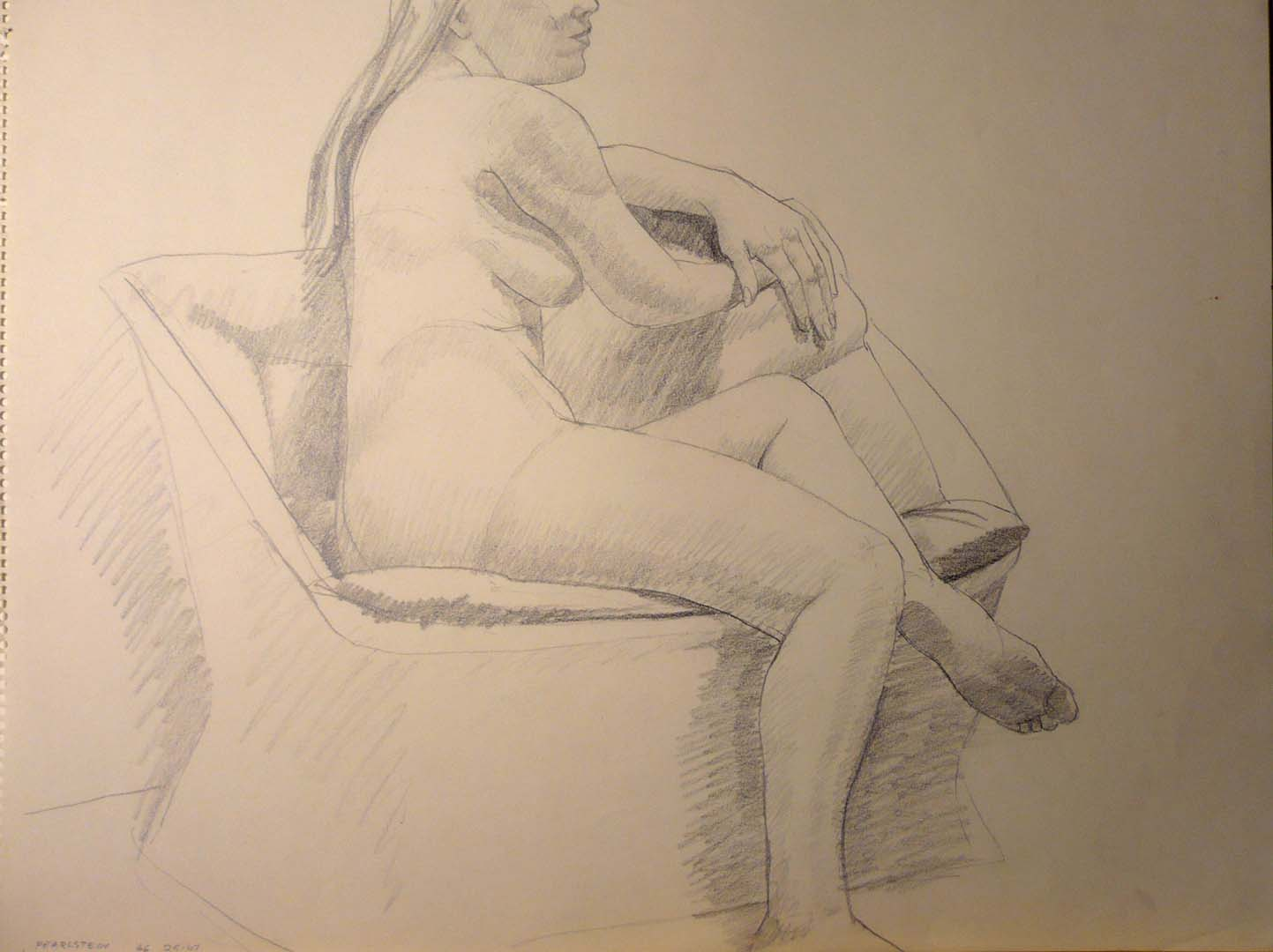 "1966 Model Rested on Chair Pencil 18"" x 24"""