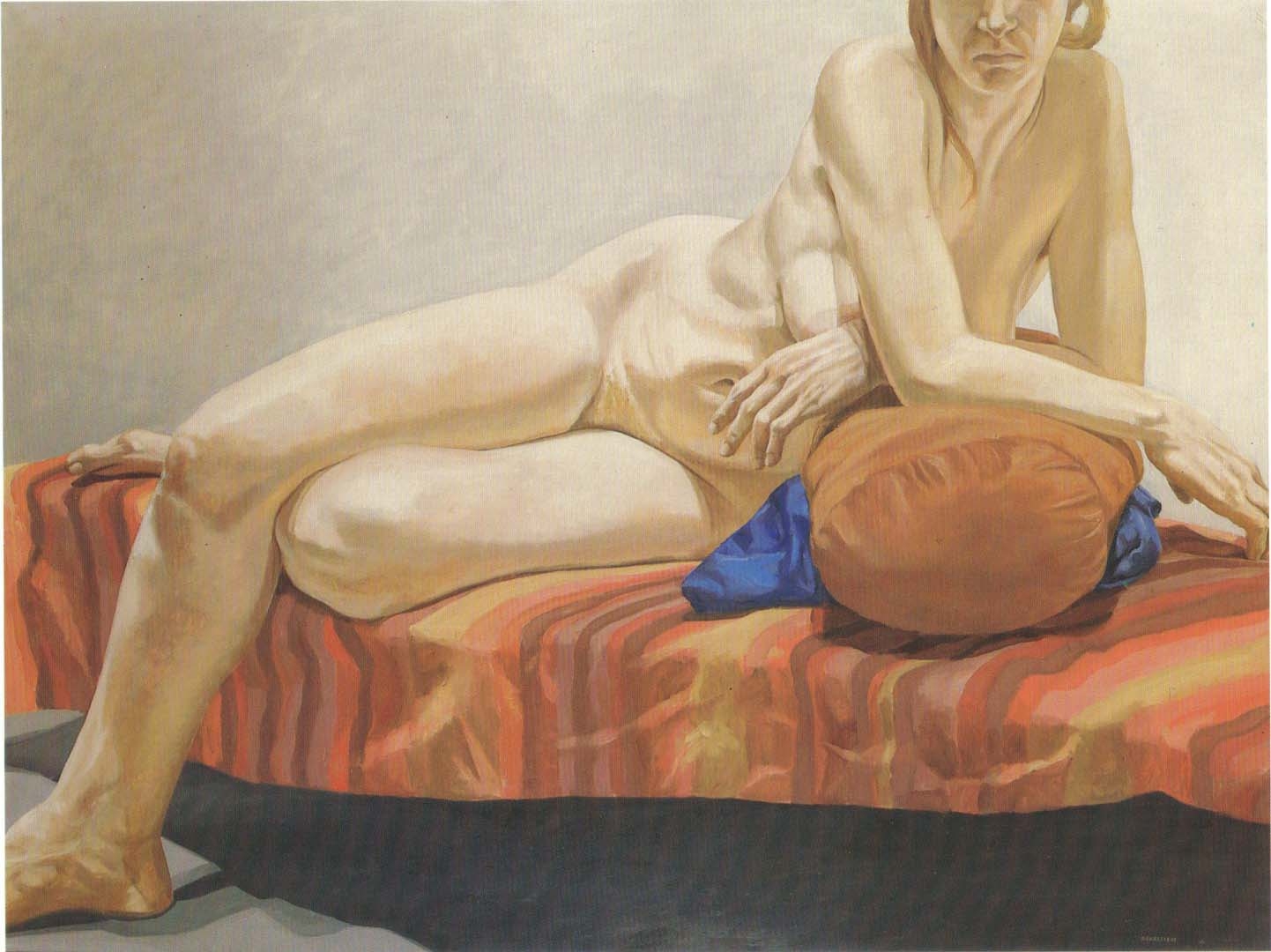 "1966 Nude Reclining on Striped Drape Oil on Canvas 54"" x 71"""