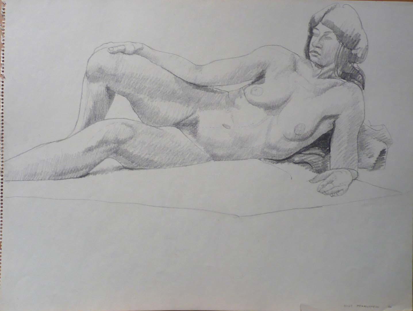 "1966 Reclining Female Model Pencil 18"" x 24"""
